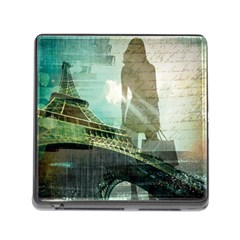 Modern Shopaholic Girl  Paris Eiffel Tower Art  Memory Card Reader With Storage (square)