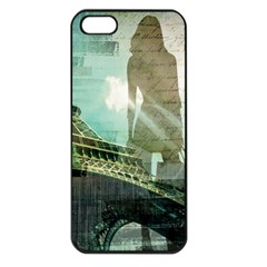 Modern Shopaholic Girl  Paris Eiffel Tower Art  Apple Iphone 5 Seamless Case (black) by chicelegantboutique