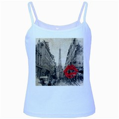 Elegant Red Kiss Love Paris Eiffel Tower Baby Blue Spaghetti Tank by chicelegantboutique