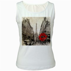 Elegant Red Kiss Love Paris Eiffel Tower Womens  Tank Top (white) by chicelegantboutique