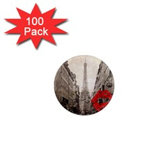 Elegant Red Kiss Love Paris Eiffel Tower 1  Mini Button Magnet (100 Pack)