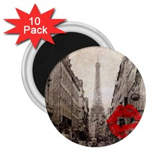 Elegant Red Kiss Love Paris Eiffel Tower 2 25  Button Magnet (10 Pack) by chicelegantboutique