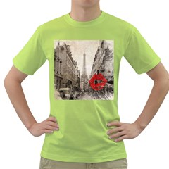 Elegant Red Kiss Love Paris Eiffel Tower Mens  T-shirt (green) by chicelegantboutique