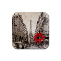 Elegant Red Kiss Love Paris Eiffel Tower Drink Coaster (square) by chicelegantboutique