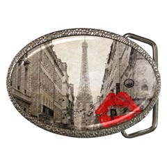 Elegant Red Kiss Love Paris Eiffel Tower Belt Buckle (oval) by chicelegantboutique