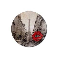 Elegant Red Kiss Love Paris Eiffel Tower Drink Coaster (round) by chicelegantboutique