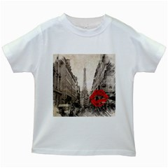 Elegant Red Kiss Love Paris Eiffel Tower Kids' T Shirt (white)