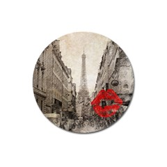 Elegant Red Kiss Love Paris Eiffel Tower Magnet 3  (round) by chicelegantboutique