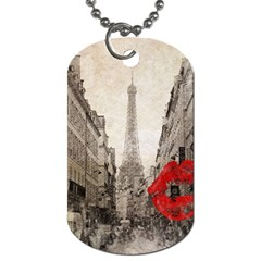 Elegant Red Kiss Love Paris Eiffel Tower Dog Tag (one Sided) by chicelegantboutique