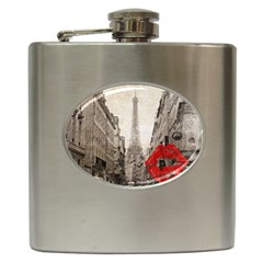 Elegant Red Kiss Love Paris Eiffel Tower Hip Flask