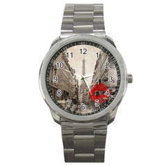 Elegant Red Kiss Love Paris Eiffel Tower Sport Metal Watch by chicelegantboutique