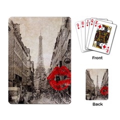 Elegant Red Kiss Love Paris Eiffel Tower Playing Cards Single Design by chicelegantboutique