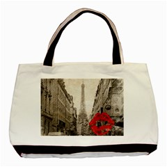 Elegant Red Kiss Love Paris Eiffel Tower Classic Tote Bag by chicelegantboutique