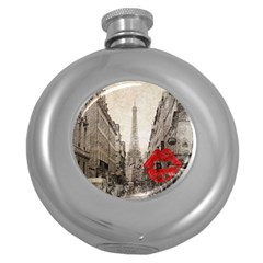 Elegant Red Kiss Love Paris Eiffel Tower Hip Flask (round) by chicelegantboutique