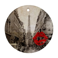 Elegant Red Kiss Love Paris Eiffel Tower Round Ornament (two Sides) by chicelegantboutique