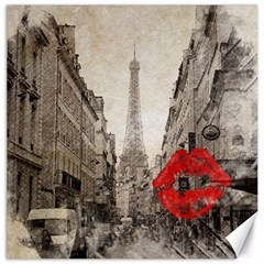 Elegant Red Kiss Love Paris Eiffel Tower Canvas 20  X 20  (unframed) by chicelegantboutique