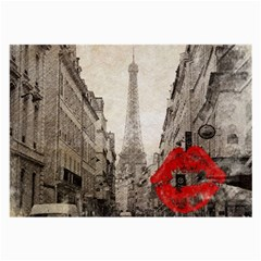 Elegant Red Kiss Love Paris Eiffel Tower Glasses Cloth (large, Two Sided) by chicelegantboutique