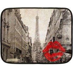 Elegant Red Kiss Love Paris Eiffel Tower Mini Fleece Blanket (two Sided) by chicelegantboutique
