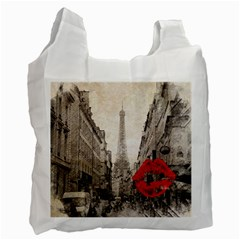 Elegant Red Kiss Love Paris Eiffel Tower Recycle Bag (two Sides) by chicelegantboutique