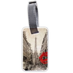 Elegant Red Kiss Love Paris Eiffel Tower Luggage Tag (one Side) by chicelegantboutique