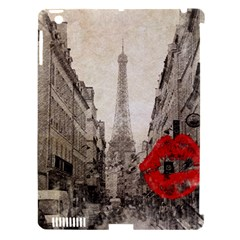 Elegant Red Kiss Love Paris Eiffel Tower Apple Ipad 3/4 Hardshell Case (compatible With Smart Cover) by chicelegantboutique