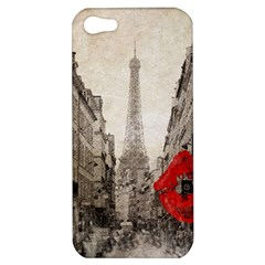 Elegant Red Kiss Love Paris Eiffel Tower Apple Iphone 5 Hardshell Case by chicelegantboutique