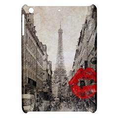 Elegant Red Kiss Love Paris Eiffel Tower Apple Ipad Mini Hardshell Case by chicelegantboutique