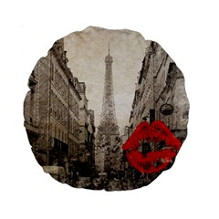 Elegant Red Kiss Love Paris Eiffel Tower 15  Premium Round Cushion  by chicelegantboutique