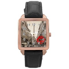 Elegant Red Kiss Love Paris Eiffel Tower Rose Gold Leather Watch  by chicelegantboutique