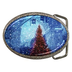 Elegant Winter Snow Flakes Gate Of Victory Paris France Belt Buckle (oval) by chicelegantboutique