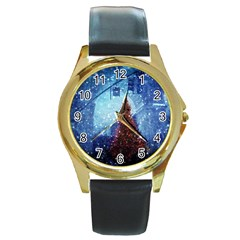 Elegant Winter Snow Flakes Gate Of Victory Paris France Round Metal Watch (gold Rim)  by chicelegantboutique