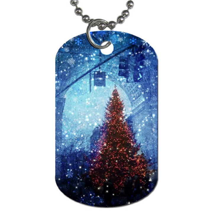 Elegant Winter Snow Flakes Gate Of Victory Paris France Dog Tag (Two-sided)
