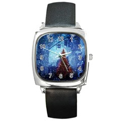 Elegant Winter Snow Flakes Gate Of Victory Paris France Square Leather Watch
