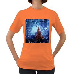 Elegant Winter Snow Flakes Gate Of Victory Paris France Womens' T-shirt (colored) by chicelegantboutique