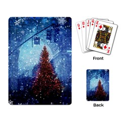 Elegant Winter Snow Flakes Gate Of Victory Paris France Playing Cards Single Design by chicelegantboutique