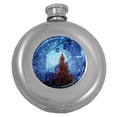 Elegant Winter Snow Flakes Gate Of Victory Paris France Hip Flask (round) by chicelegantboutique