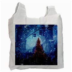Elegant Winter Snow Flakes Gate Of Victory Paris France Recycle Bag (two Sides) by chicelegantboutique