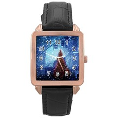 Elegant Winter Snow Flakes Gate Of Victory Paris France Rose Gold Leather Watch  by chicelegantboutique
