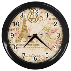 Floral Eiffel Tower Vintage French Paris Art Wall Clock (black) by chicelegantboutique