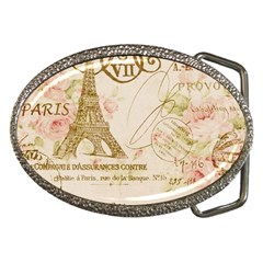 Floral Eiffel Tower Vintage French Paris Art Belt Buckle (oval) by chicelegantboutique