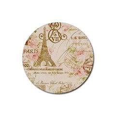 Floral Eiffel Tower Vintage French Paris Art Drink Coaster (round) by chicelegantboutique