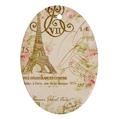 Floral Eiffel Tower Vintage French Paris Art Oval Ornament (two Sides)