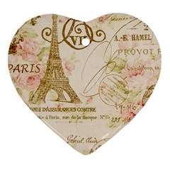 Floral Eiffel Tower Vintage French Paris Art Heart Ornament (two Sides) by chicelegantboutique