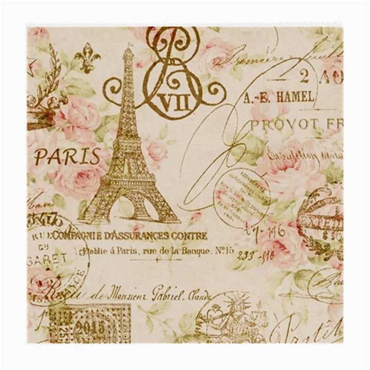 Floral Eiffel Tower Vintage French Paris Art Glasses Cloth (Medium, Two Sided)