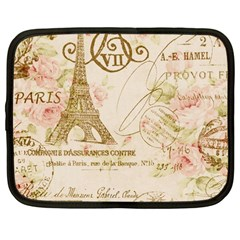 Floral Eiffel Tower Vintage French Paris Art Netbook Case (large) by chicelegantboutique
