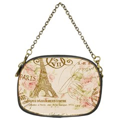 Floral Eiffel Tower Vintage French Paris Art Chain Purse (one Side)