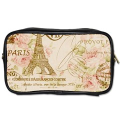 Floral Eiffel Tower Vintage French Paris Art Travel Toiletry Bag (one Side) by chicelegantboutique