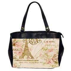 Floral Eiffel Tower Vintage French Paris Art Oversize Office Handbag (two Sides) by chicelegantboutique