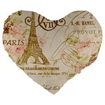 Floral Eiffel Tower Vintage French Paris Art 19  Premium Heart Shape Cushion Front