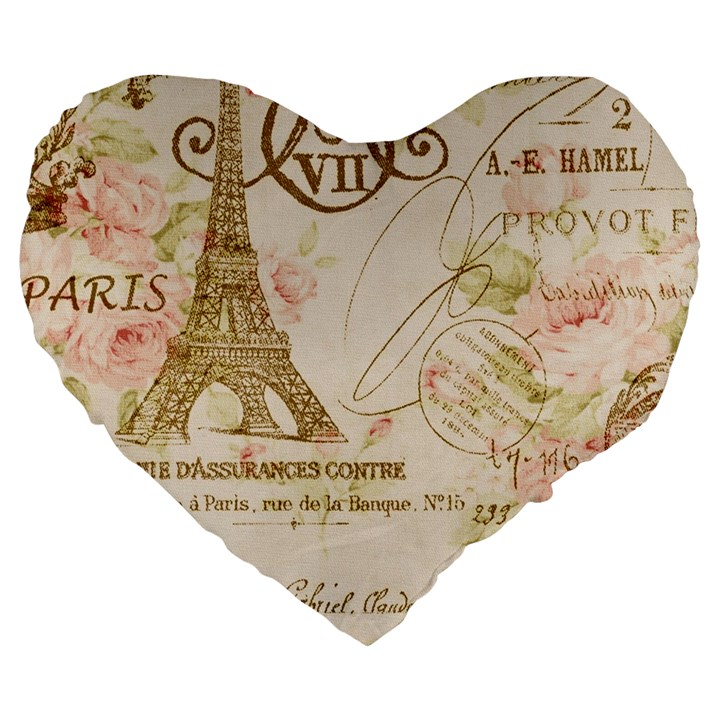 Floral Eiffel Tower Vintage French Paris Art 19  Premium Heart Shape Cushion